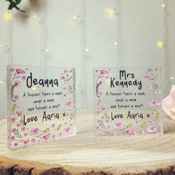 Personalised Floral Teacher Acrylic Block (BUY ONE GET ONE FREE!)