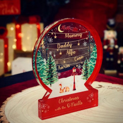 Personalised Red & Gold Snowglobe Themed Ornament