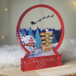 Personalised Ski Lodge Snowglobe Style Themed Ornament - RED