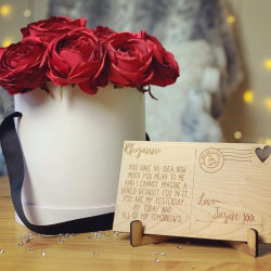 Everlasting Love Rose Box with engraved post card