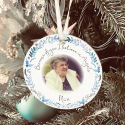 Personalised Remembrance Photo Tree Decoration - Icy Silver -SET of 2