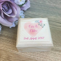 Image of Personalised Printed Wooden Ring Box