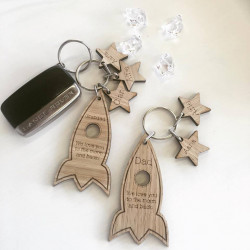 Image of Personalised Rocket Key Ring with Star Charms