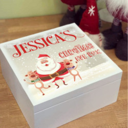 Personalised White Santa & Reindeer Theme Christmas Eve Box  - PRE ORDER FOR DECEMBER DISPATCH