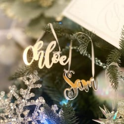 Personalised Mirrored Name Christmas Tree Decoration Curly - Icy Silver - Set of 2