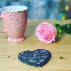 Personalised Slate Heart Couples Coasters (set of 2) ***NOT GUARANTEED FOR MOTHER'S DAY***