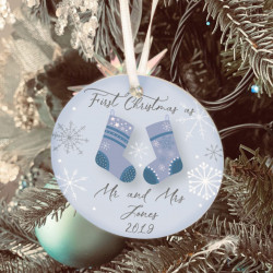 Personalised Icy Blue Stockings Christmas Tree Decoration - Set of 2
