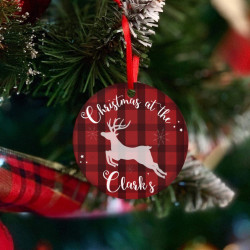 Personalised Reindeer Check Christmas Tree Decoration - Set of 2