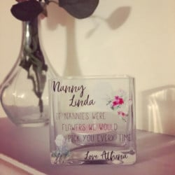 Personalised Floral GLASS Tealight Holder