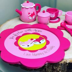 Personalised Fox Tea Set Wooden