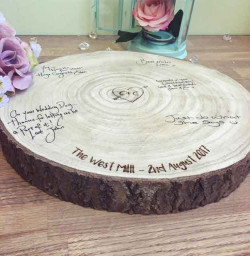 Image of Personalised Engraved Wooden Log Slice Guestbook