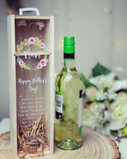 Flower Wreath Personalised Wine Box Acrylic