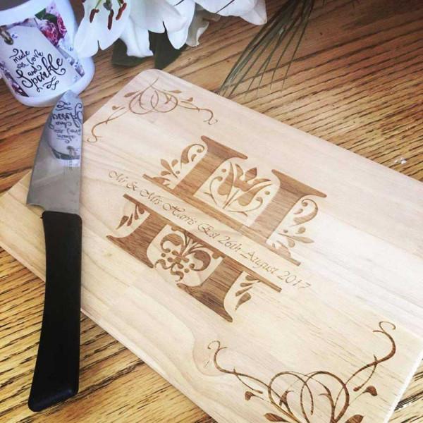 Personalised Wooden Chopping Board - Wedding Monogram