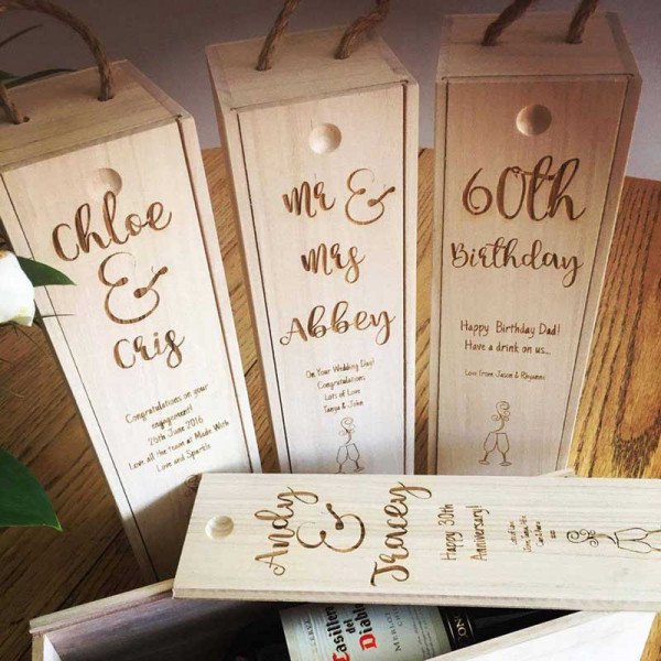 Image of wooden engraved wine box