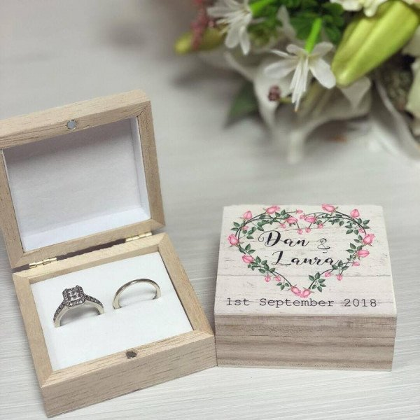 Image of Personalised Wooden Couples RIng Box