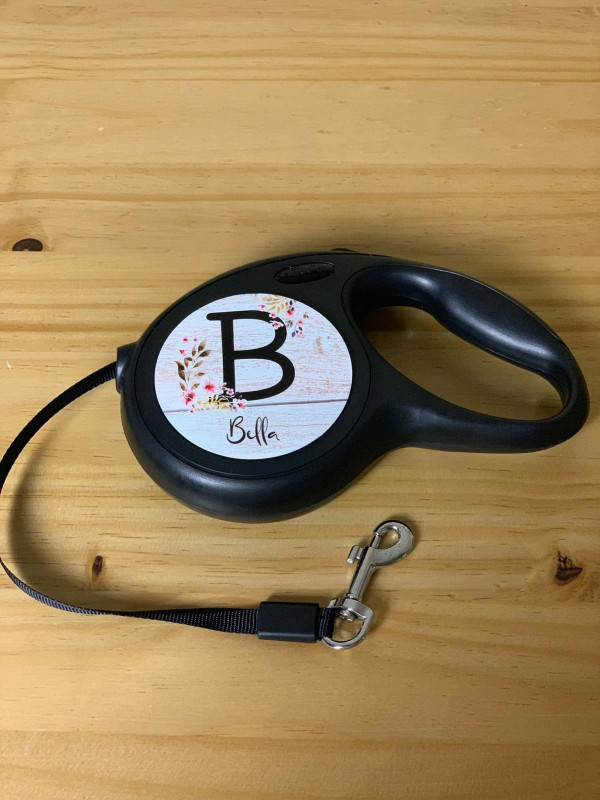 Image of Personalised Dog Lead Floral Letter