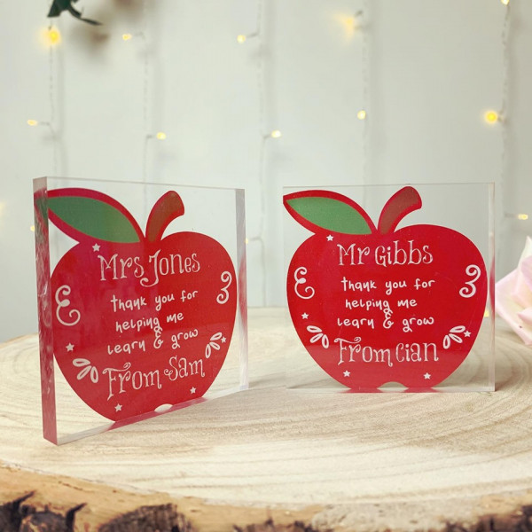 Teacher Red Apple Personalised Acrylic Block