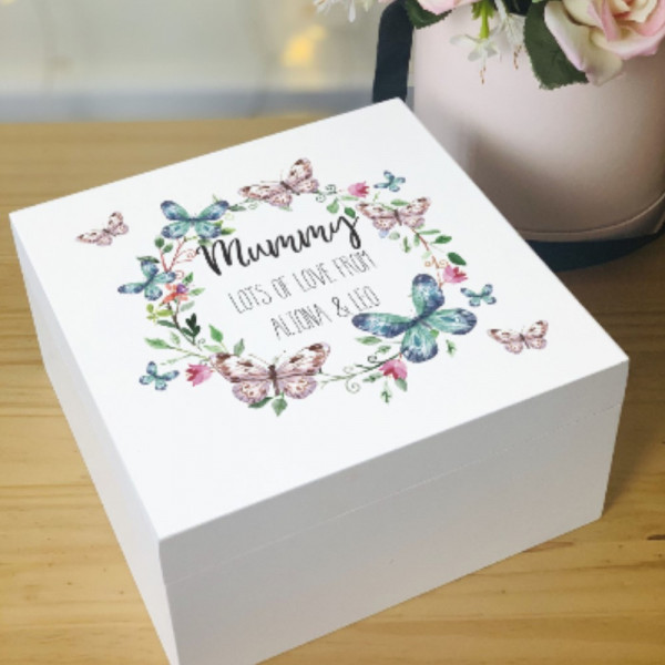 Personalised Wooden Keepsake Memory Box Made With Love And Sparkle