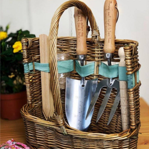 Personalised Deluxe Garden Tool Basket Set Made With Love And Sparkle