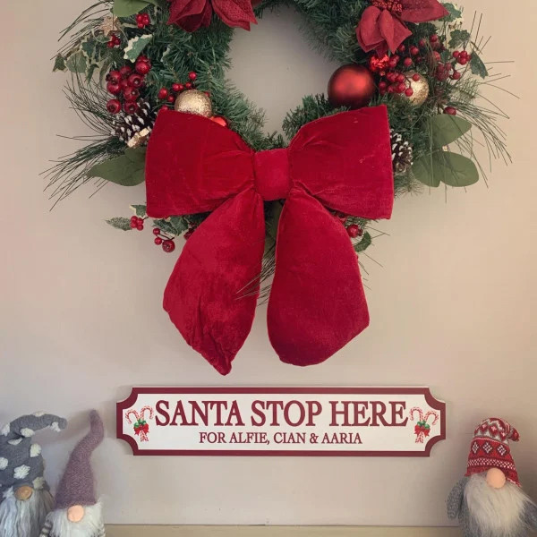Personalised Santa Stop Here Christmas Train street Sign 0
