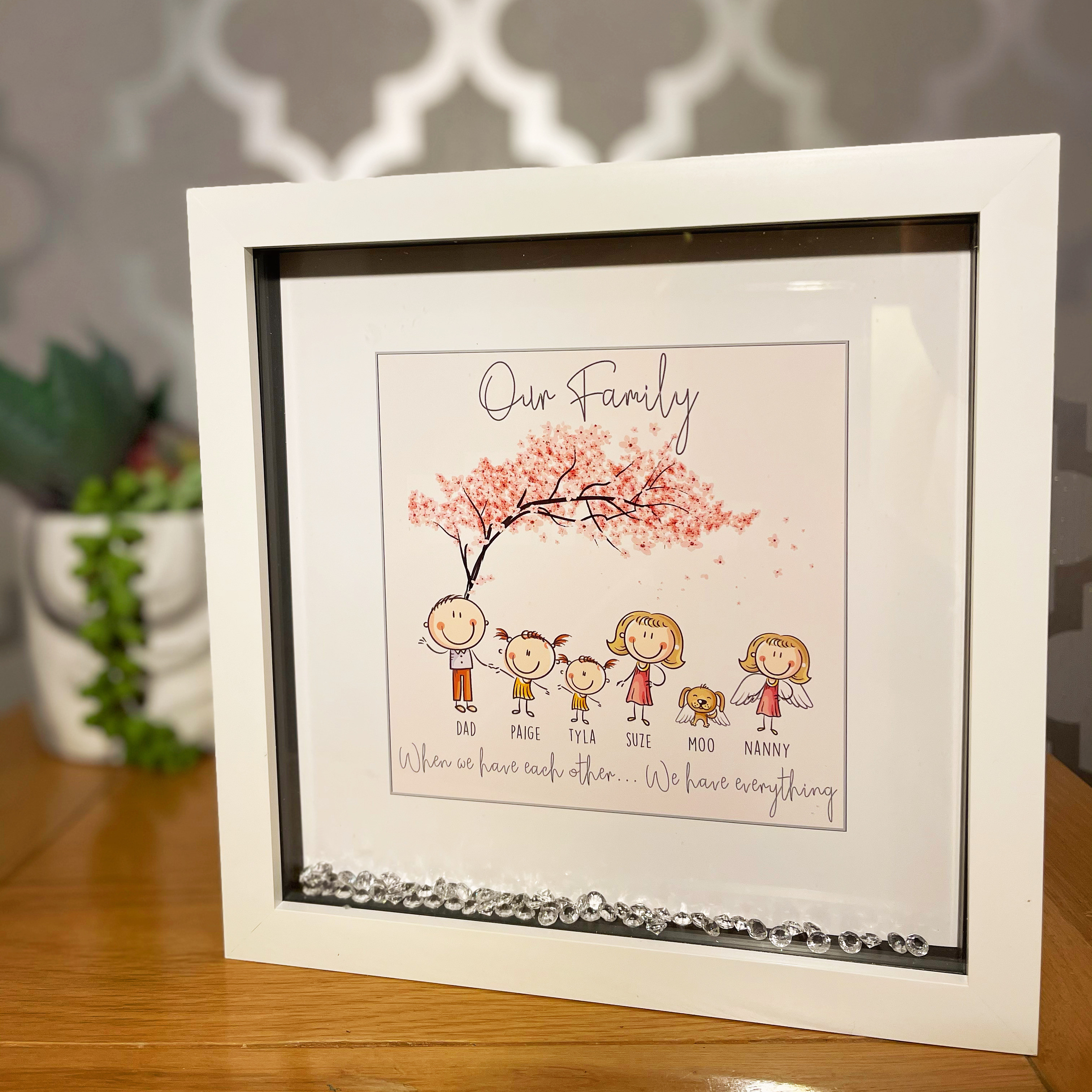 Personalised Printed Character Family Blossom Tree **GUARANTEED FOR MOTHER'S DAY DELIVERY**