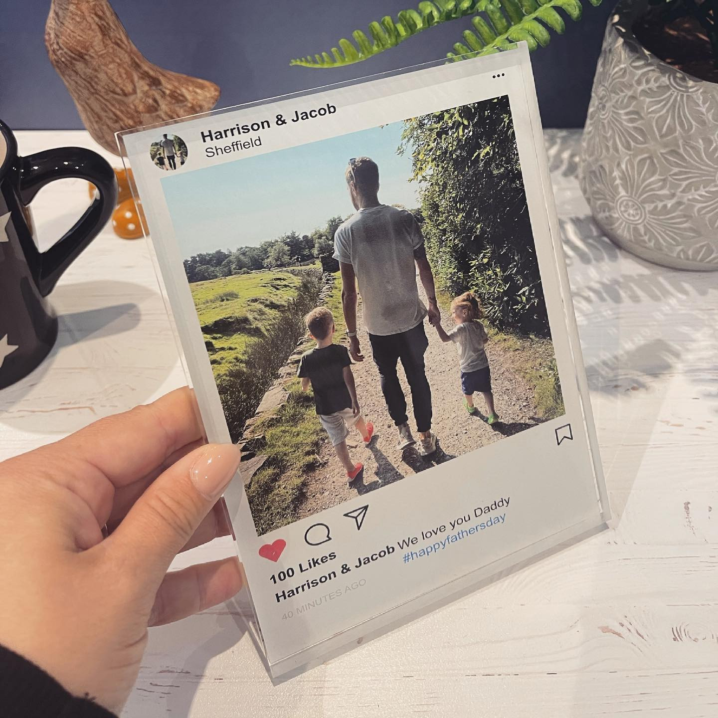Personalised Instagram Post Acrylic Block - Light Theme - GUARANTEED FOR FATHER'S DAY DELIVERY