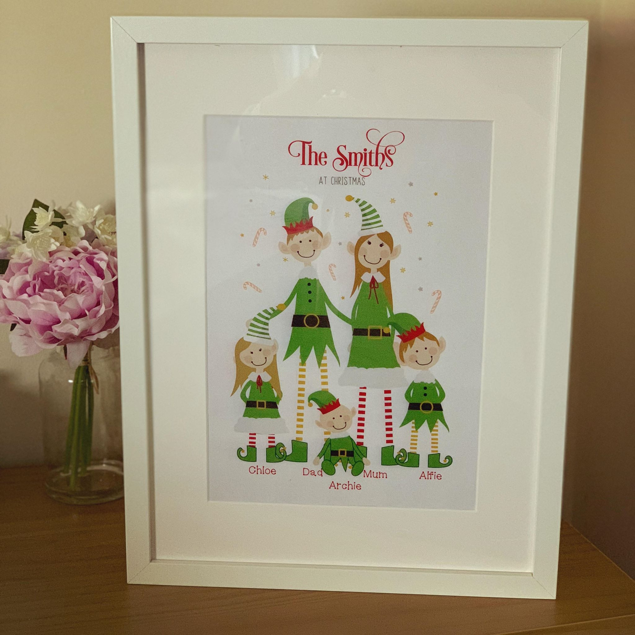 Image of family characters christmas frame