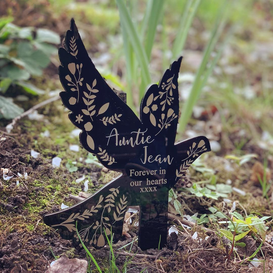Personalised Remembrance Dove - Black