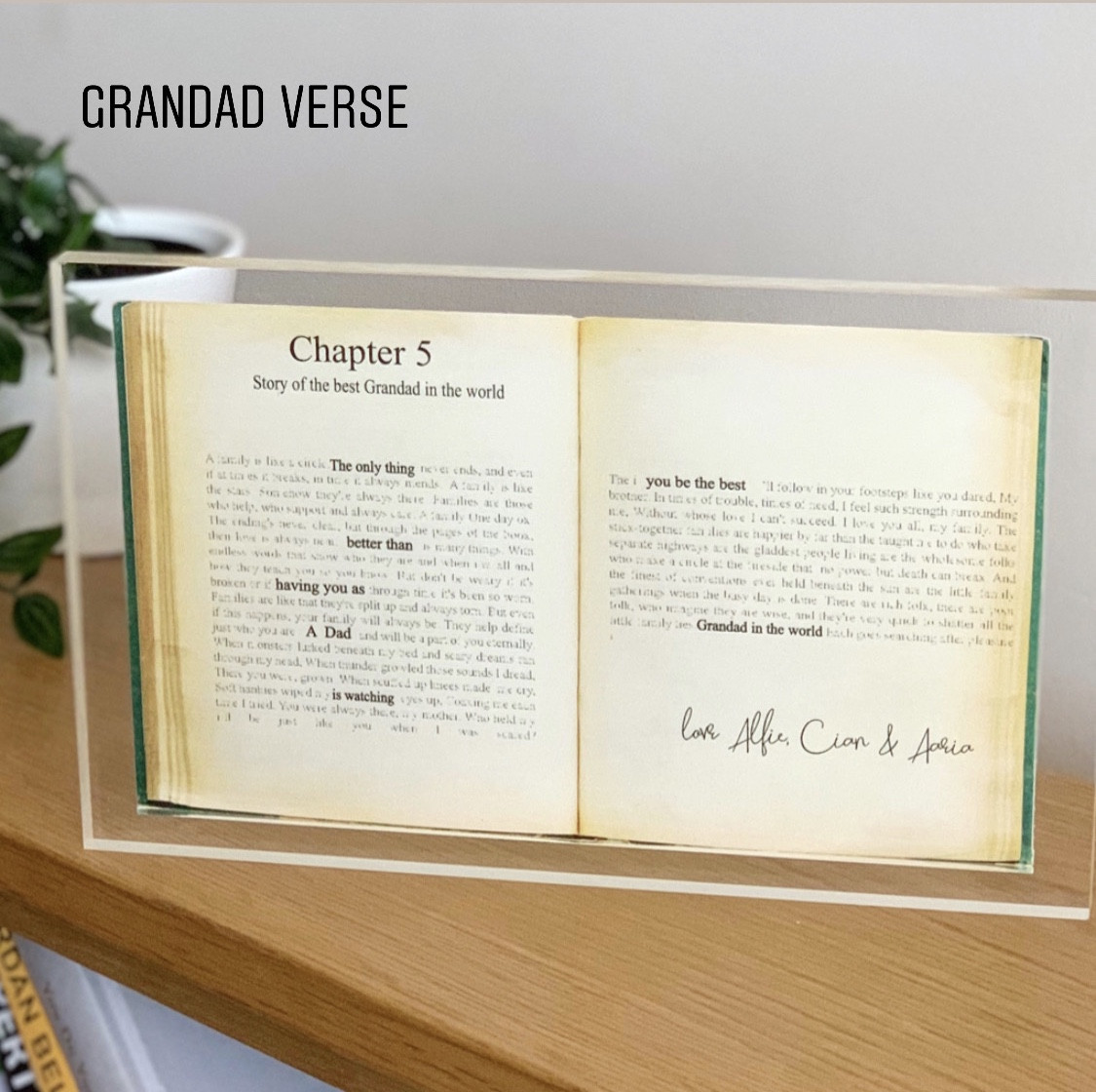 """Personalised Vintage Book Acrylic Block Large- """"The Only Thing Better than"""" verse"""