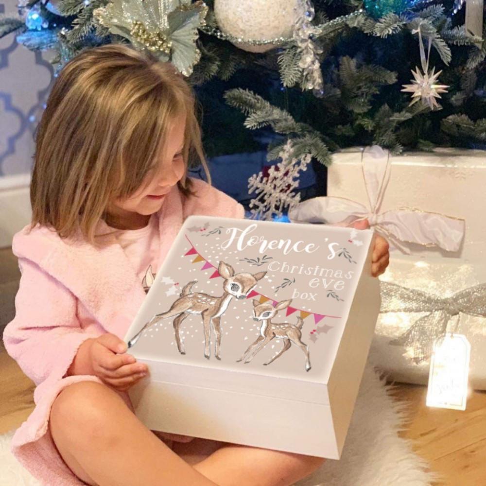 Personalised White Baby Deer Theme Christmas Eve Box