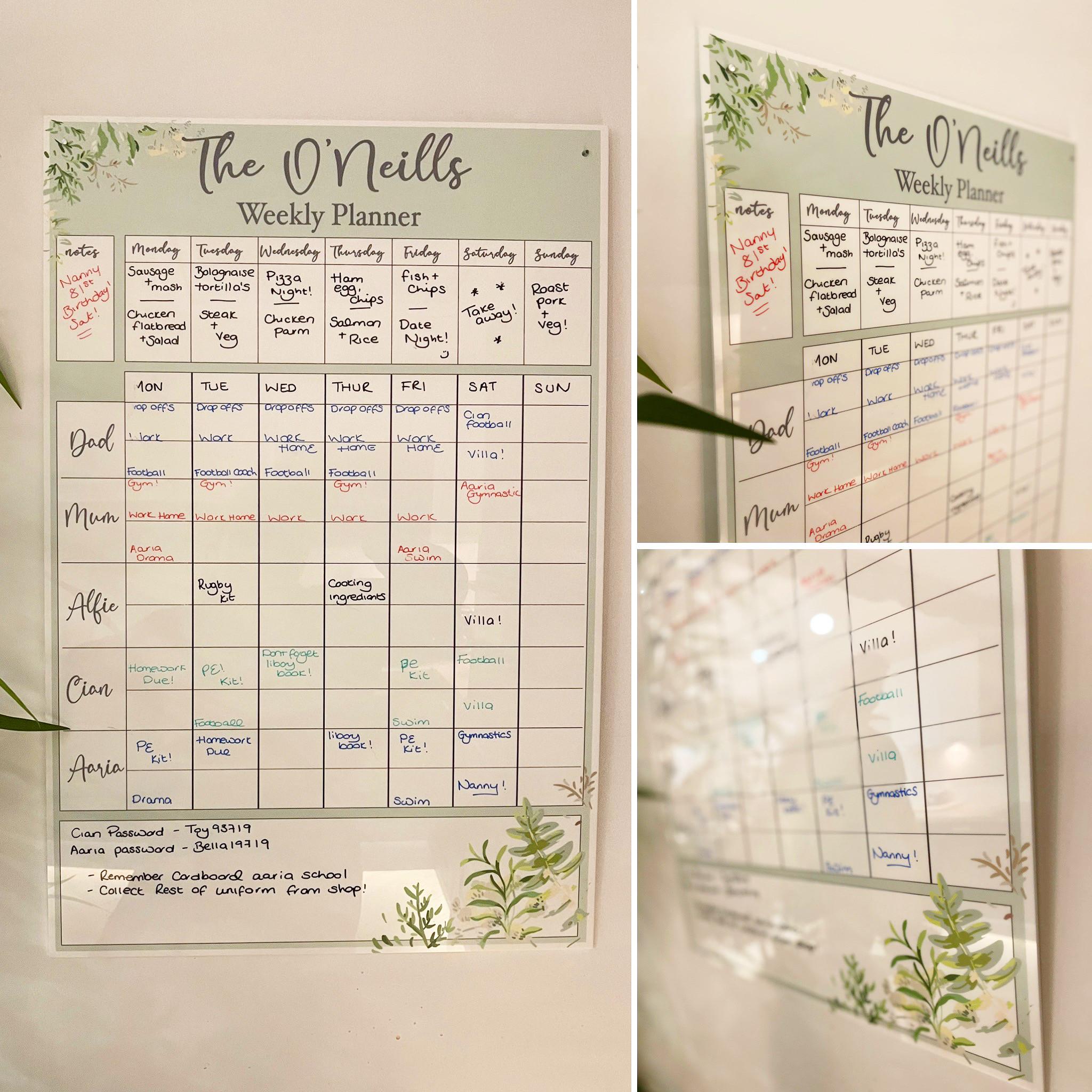 Personalised Sage Design Family Hanging Planner