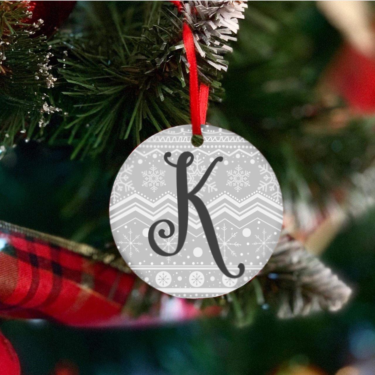 Personalised Christmas Print Initial Christmas Tree Decoration - Set of 2