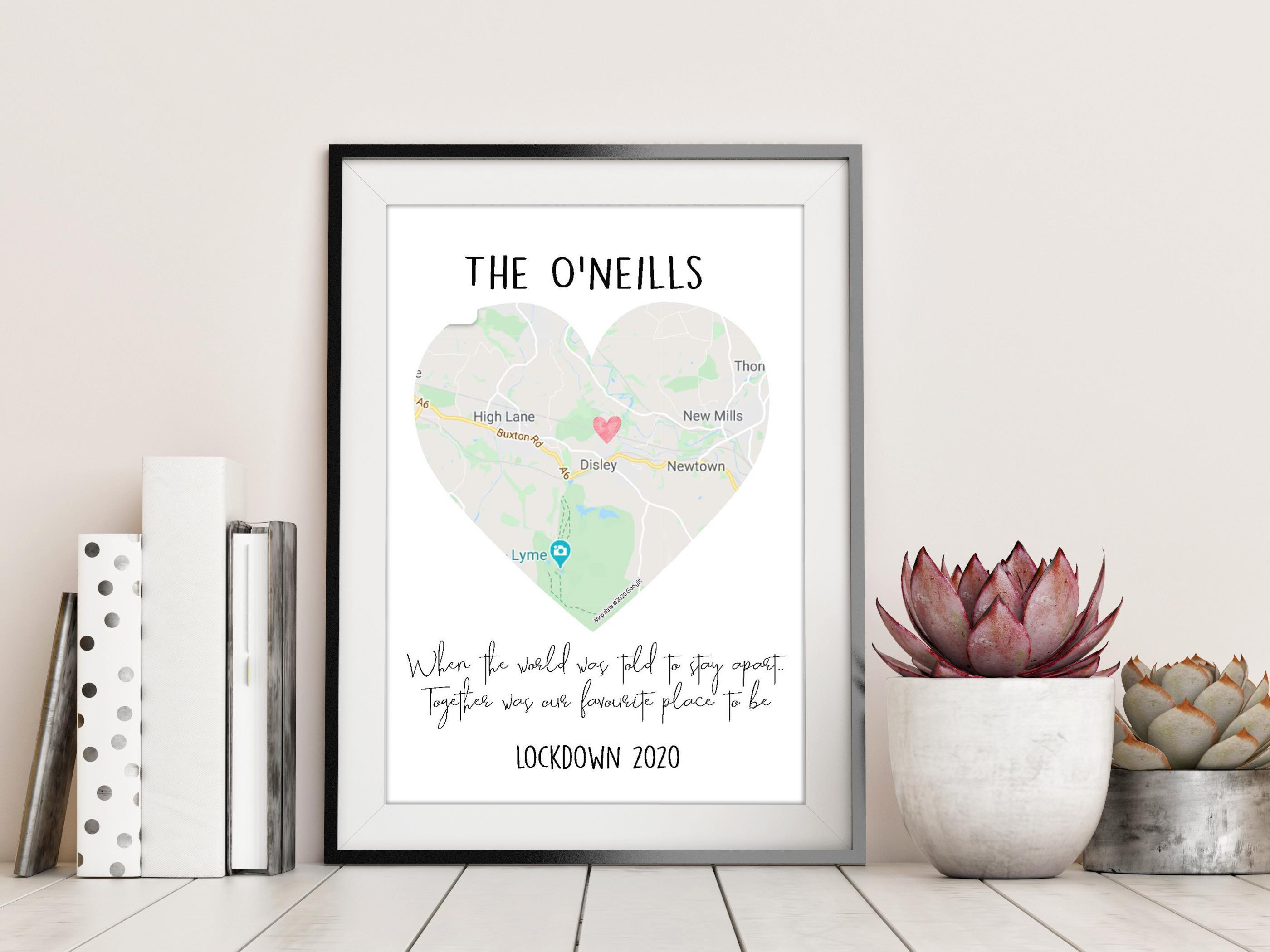 Personalised Map Lockdown 2020 DIGITAL PRINT
