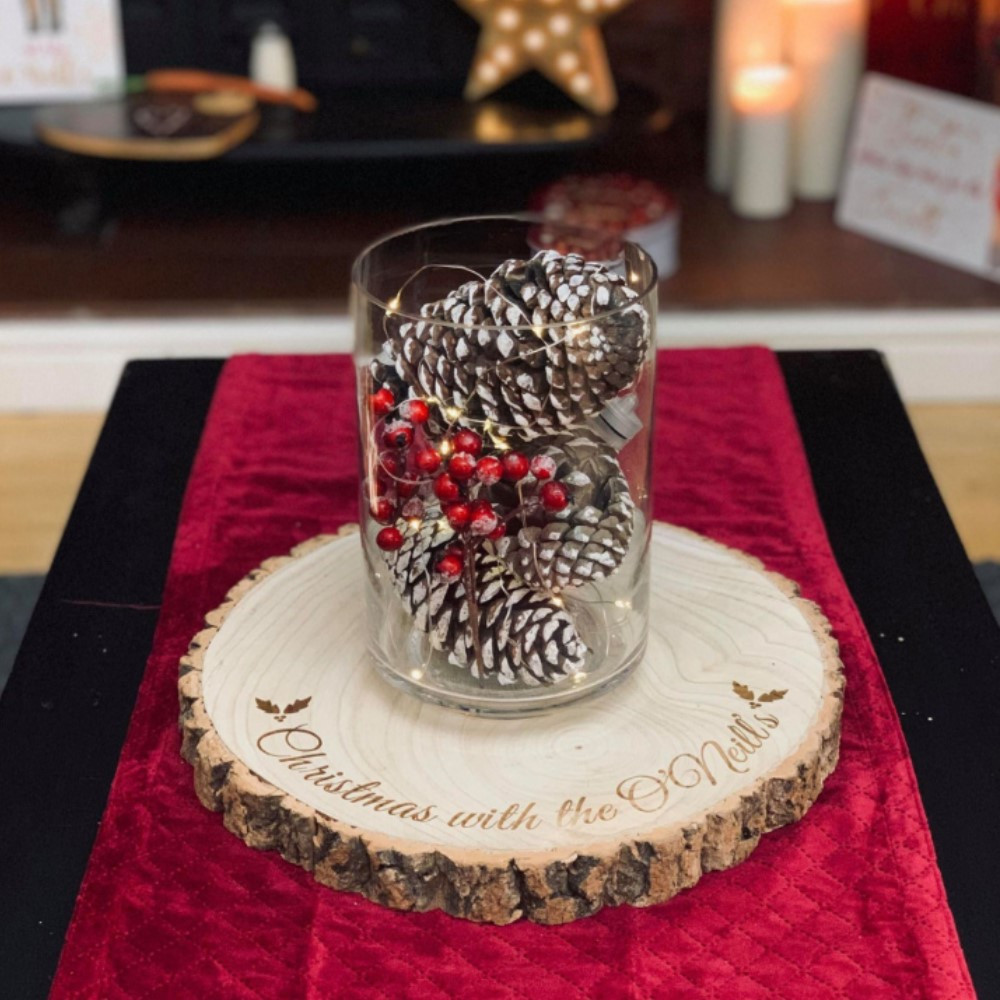 Personalised 'Christmas With The...' Centrepiece Log Slice