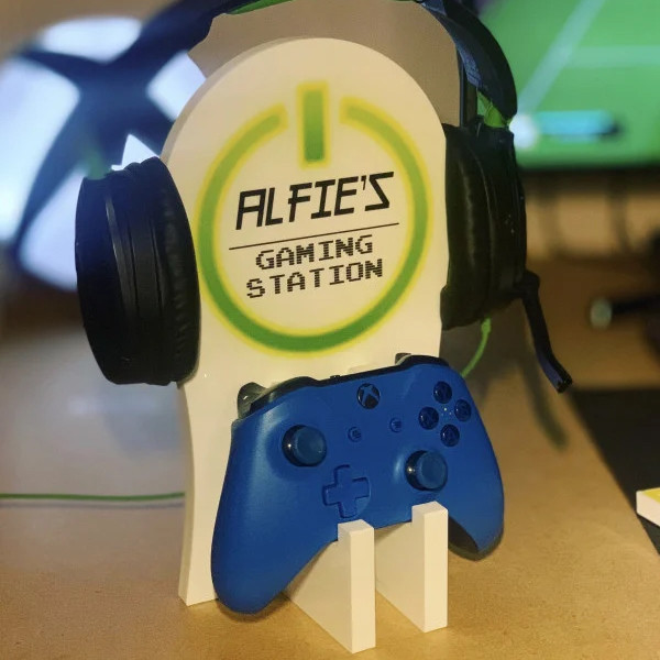Personalised Gaming Station - Green On Button. NOT Guaranteed for Christmas Delivery
