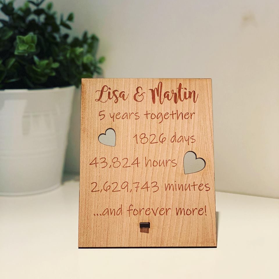 Personalised Wooden Engraved Love Timescale Plaque