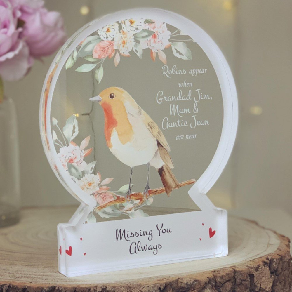 Personalised Robin Snowglobe Style Themed Ornament - WHITE