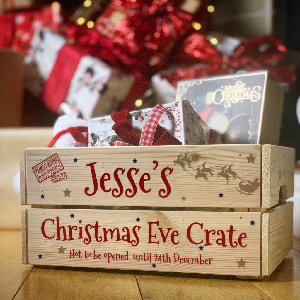 Personalised Christmas Eve Crate Santa Sleigh - Red Text