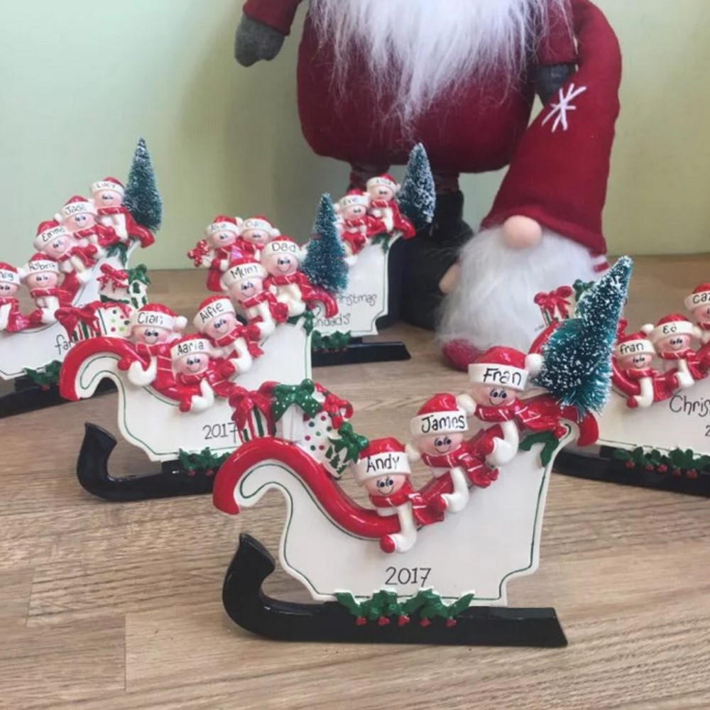 Personalised Freestanding Sleigh Decoration - 3 Heads