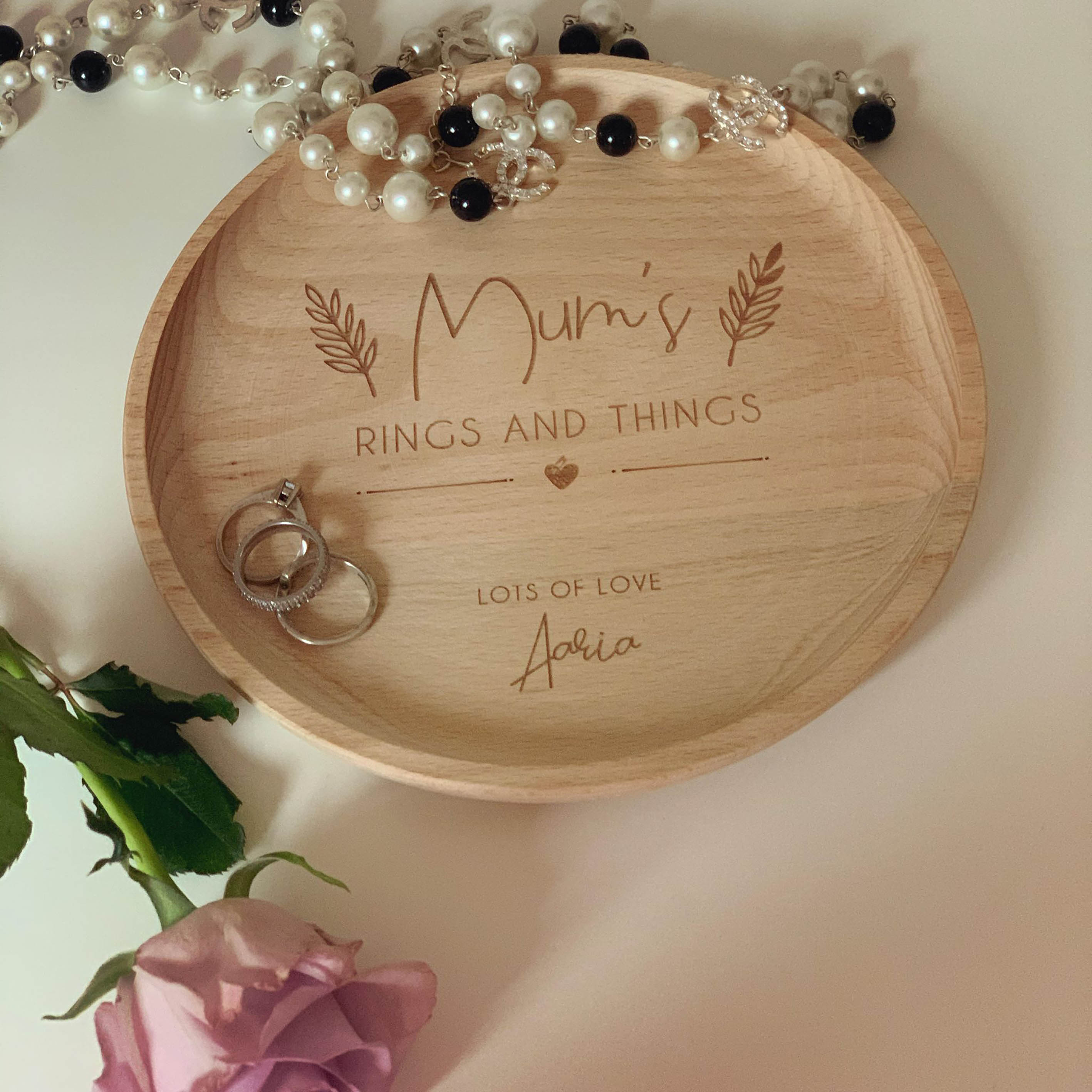 Personalised Wooden Engraved Jewellery Dish