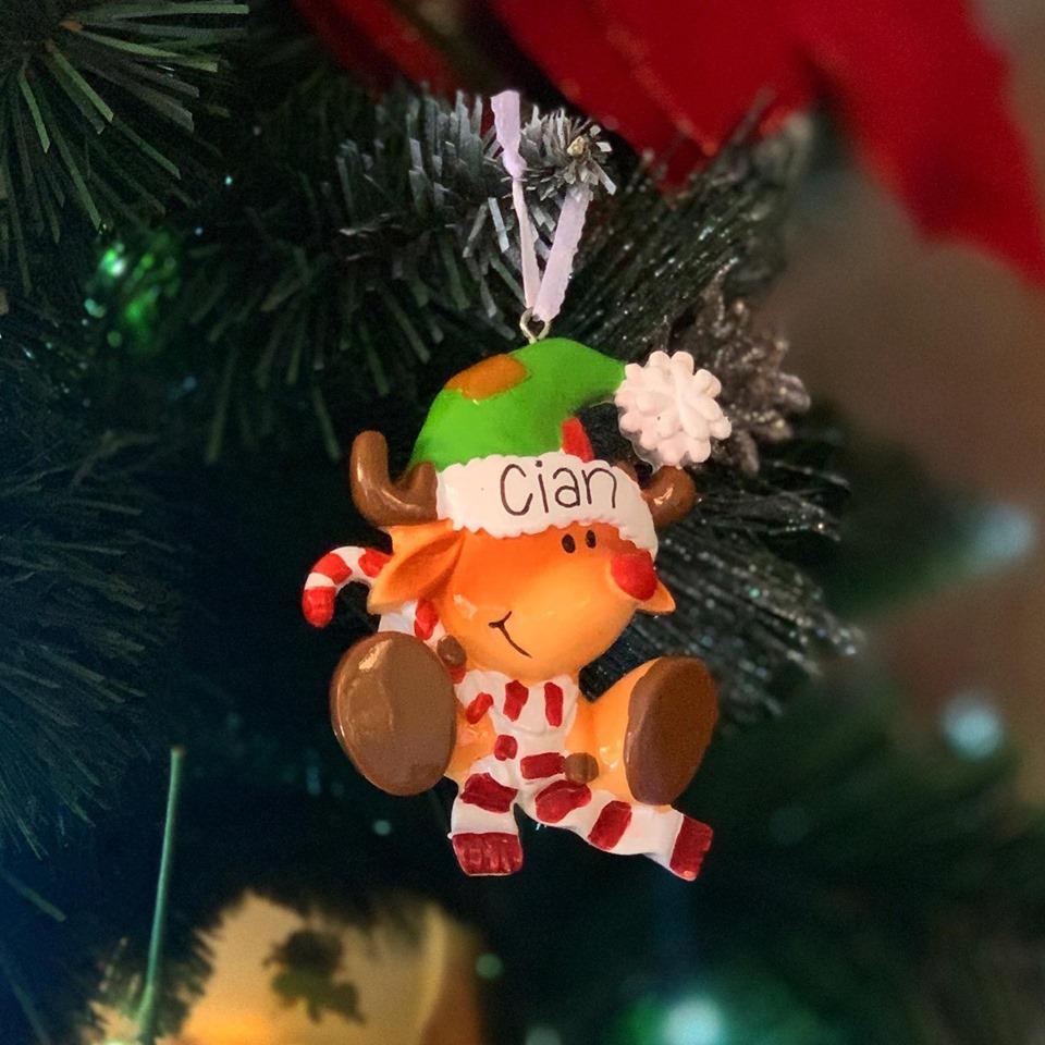 Personalised Cute Reindeer Hanging Decoration
